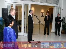 Ambassador Christopher LaFleur speaking at the Embassy Dinner ReceptionAmbassador Christopher LaFleur, Bernhard Schutte,CEO of Digital Media Network,Inc., Dato' Rosnah Majid, CEO of Electronic Business Management (EBM).